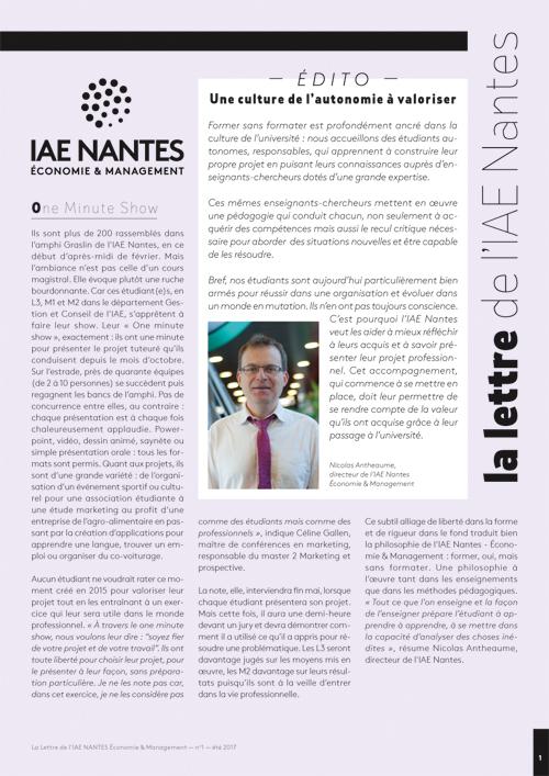 Université de Nantes / Lettre information IAE Nantes